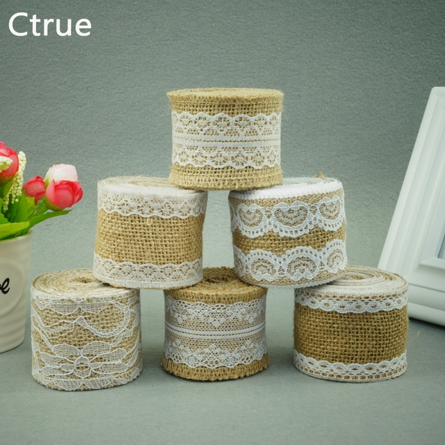 2Meter Jute Burlap rolls Hessian Ribbon with Lace roll vintage ...