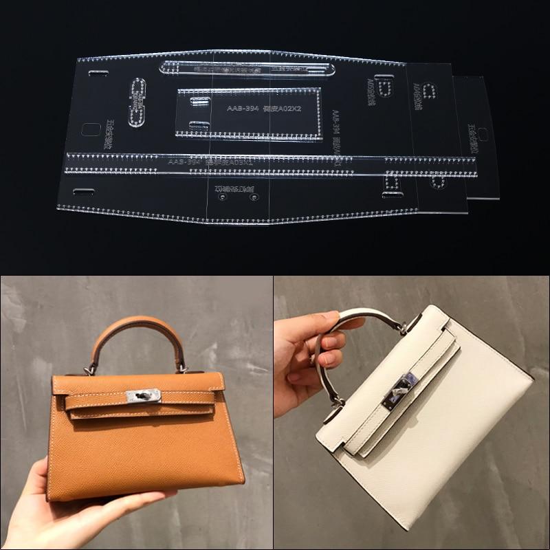1set 2019 DIY Leather Craft Crossbody Handbag Sewing Pattern Acrylic Template 8*21.5*6cm