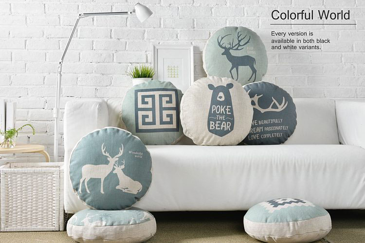 45CM Round Pillows Cover Nordic Style Cushion Cover Grey Deer Forest Decorative Pillow Case Geometric Linen Cotton Cushion Cover
