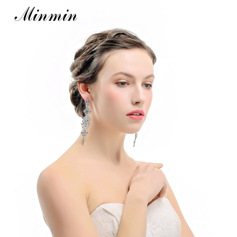 Minmin kolor srebrny Kryształowy żyrandol Ślubne długie kolczyki - Modna biżuteria - Zdjęcie 2
