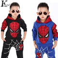 Spider-man Suit Children Clothing Boy Suits Girl Cotton Deer Stripe tops +pants pajamas Kids Clothes Children's Christmas Suits