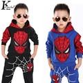 Spider-man Suit Children Clothing Boy Suits Girl Cotton Deer Stripe tops +pants pajamas Kids Clothes Children's Christmas Suits