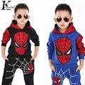 Spider-man Terno Roupa Das Crianças Ternos Menino Da Menina do Algodão Cervos Stripe tops + calças pijama Roupa Dos Miúdos das Crianças Ternos de natal