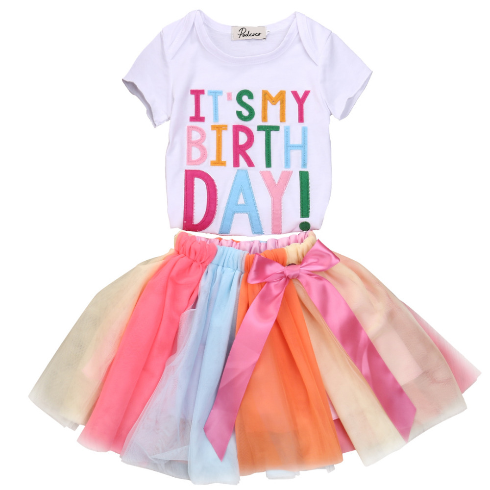 New Baby Kids Girls Summer Short Sleeve Tops Shirt+Lace Colorful Skirt 2-piece Birthday Clothes Outfits Set For 1-6Y 2017 summer new children baby girl clothing denim set outfits short sleeve t shirt overalls skirt 2pcs set clothes baby girls