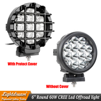 New 6 inch led lights Driving 60W Round Led OffRoad Lights 12V Spotlights HeadLight 4x4 Truck+ Protect Cover 12Leds x1pc
