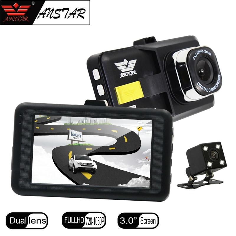 ANSTAR 3″ Car DVR Dual Lens Car Camera DVR with Two Camera Blackbox Dash Cam Night Vision DashCam cycle recording registrar
