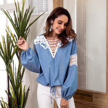 Women shirt autumn denim blue hook flower hollow V-neck lace stitching long-sleeved lantern sleeve vintage demin blouse
