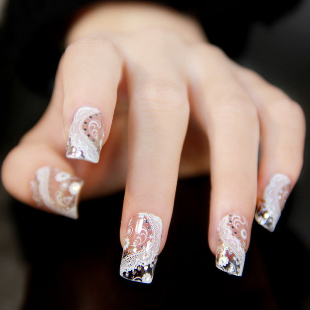New Fashion Nails Art Stickers Rhinestone Designs 3d White Lace