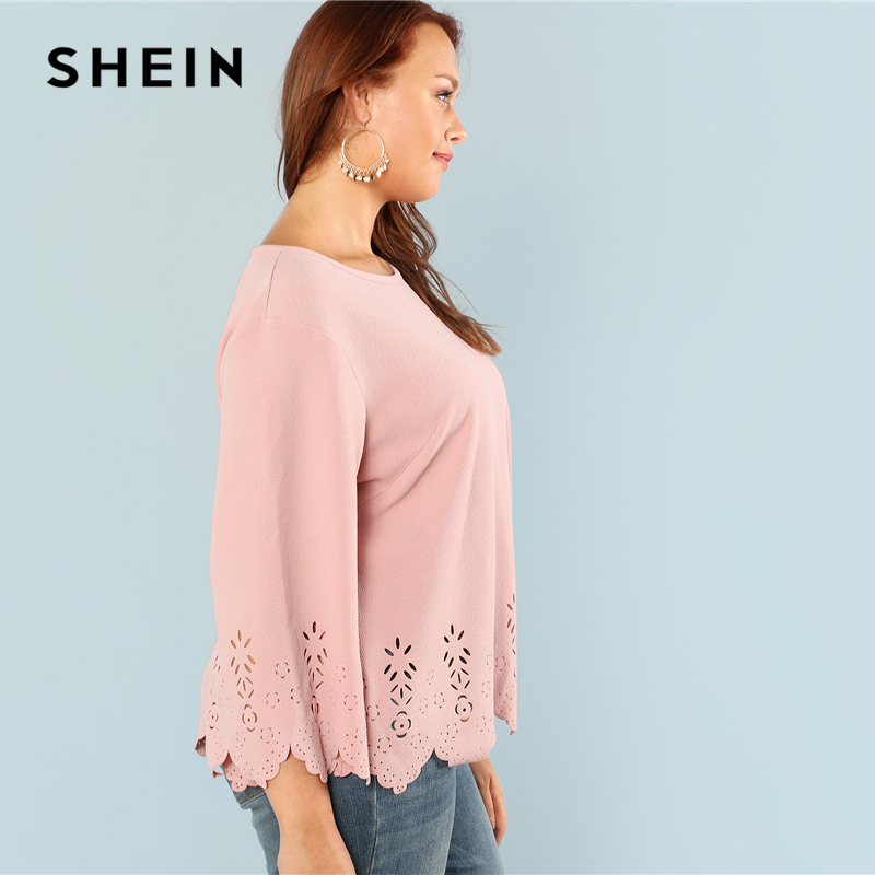 SHEIN Laser Cut Solid Top 2018 Summer Round Neck Three Quarter Length Flounce Sleeve Plus Size Blouse Women Elegant Pink Top 1