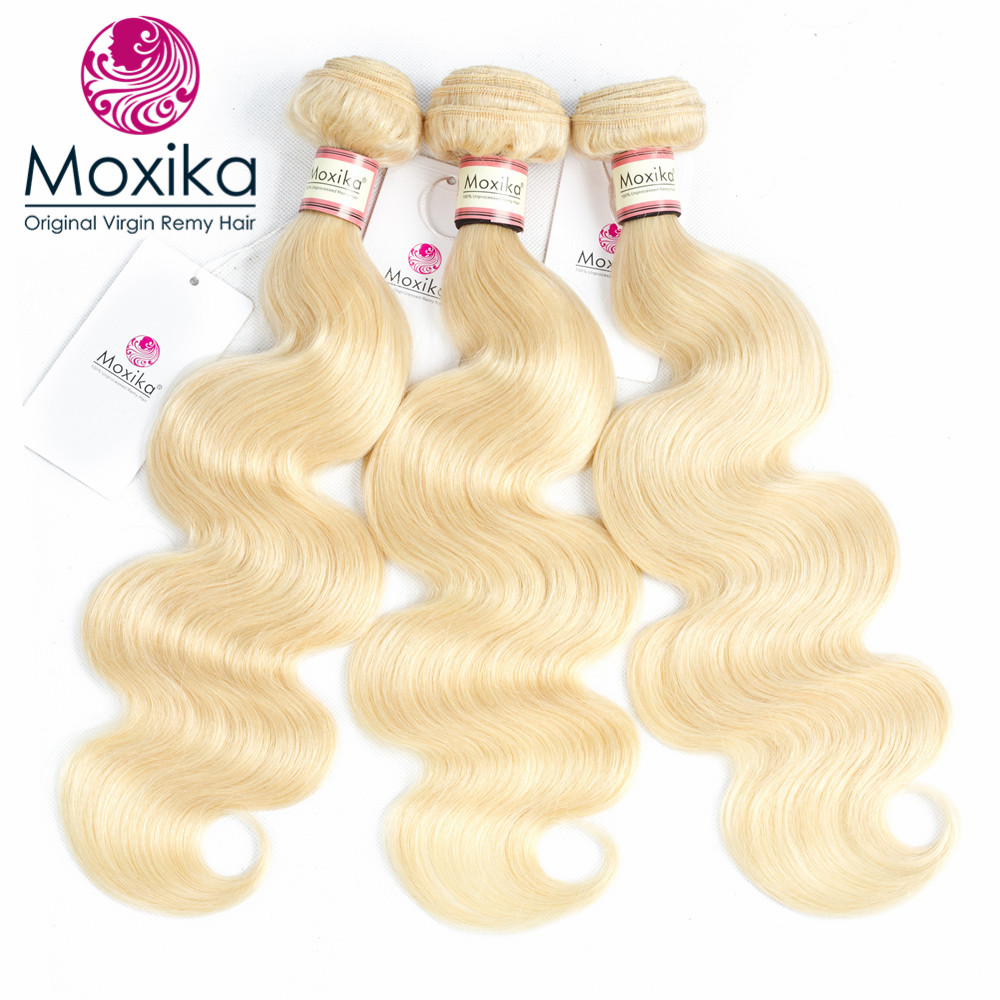 Moxika Hair 613 Blonde Wave Hair 3Bundles Brazilian Body Wave Human Hair Weaves 12 24 Inch