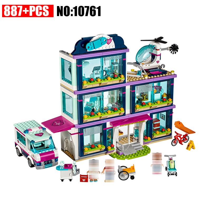 887Pcs Bela 10761 city HeartLake Hospital model Building sets Bricks education Toys For KIDS children gifts Compatible 41318 compatible lepin city block police dog unit 60045 building bricks bela 10419 policeman toys for children 011