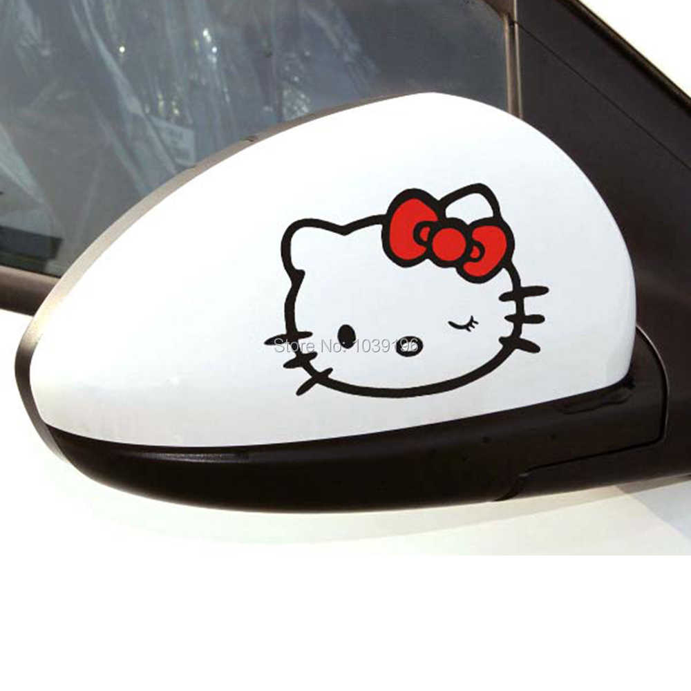 2 x Забавный креативный, милый, мультяшный автомобильный Стайлинг Hello наклейки с кошками автомобиля заднего вида зеркальные наклейка узор винил