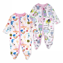 2 Pcs/Lot 100% cotton baby girl clothes long Sleeve Baby rompers Girl Jumpsuit Cartoon Printed newborn clothing kids