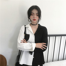 Korean Chic Style Black White Contrast Color Tops Female Harajuku Fashion Long Sleeve Vintage Shirts Collar OL Ladies Blouse