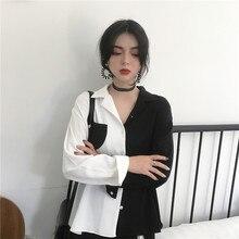 Korean Fashion Style Black White Women Tops 2020 Female Hara
