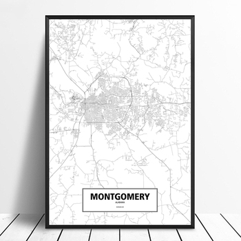 Montgomery, Alabama, United States Black White Custom World City Map Poster Canvas Print Nordic Style Wall Art Home Decor image