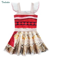 Princess Moana Ruffle Sleeve Costume Party Dress Up For Girls Toddler Kids Cute Lotus Leaf Skirt Vestido