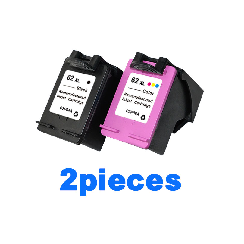 2pcs For HP 62 Ink Cartridge For HP Envy 5640 5660 7640 5540 5545 Officejet 5740 5743 5744 5745 printers ink cartridges For HP62 color ink jet cartridge for canon printers 821 820 series