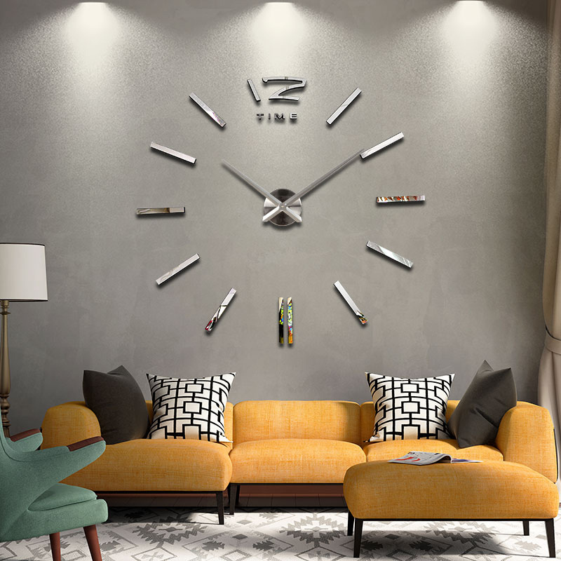 New Hot Sale Stickers Wall Clock Clocks Watch Diy Acrylic Mirror Large Home Decoration Quartz Living Room Circular Needle