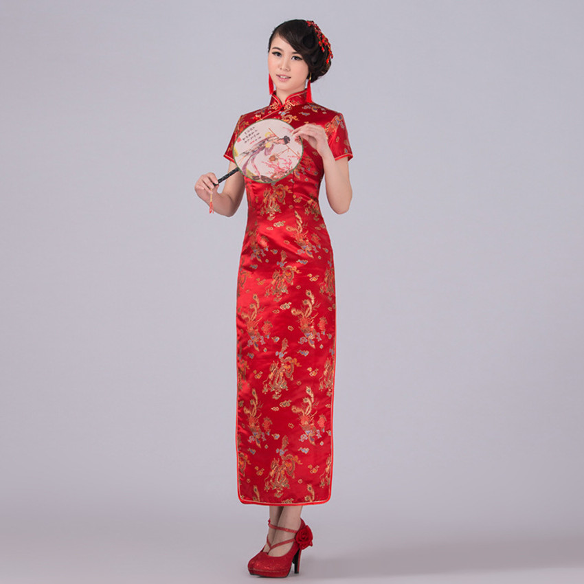Red Chinese Traditional Dress Women Satin Qipao Dragon Phenix Long Cheongsam Plus Size S M L