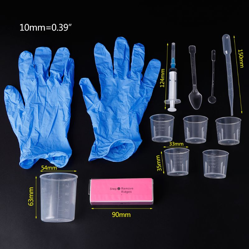 1 Set Epoxy Resin Kit DIY Jewelry Handmade Professional Disposable Gloves Cup Polish Syringe Mix Stick Resin Mold Making Tools
