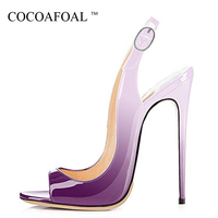 COCOAFOAL Women Peep Toe Sandals Plus Size 33 43 Green Purple High Heels Sandals Sexy Patent Leather Summer Blue Pumps 2018