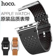 Hoco Knight Echt Lederen Armband 20mm 22mm voor Apple Horloge Serie 4/3/2 Horlogeband voor iwatch 40/44/38/42