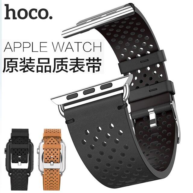 Hoco cavaleiro pulseira de couro genuíno 20mm 22mm para apple assistir série 4/3/2 pulseira para iwatch 40/44/38/42