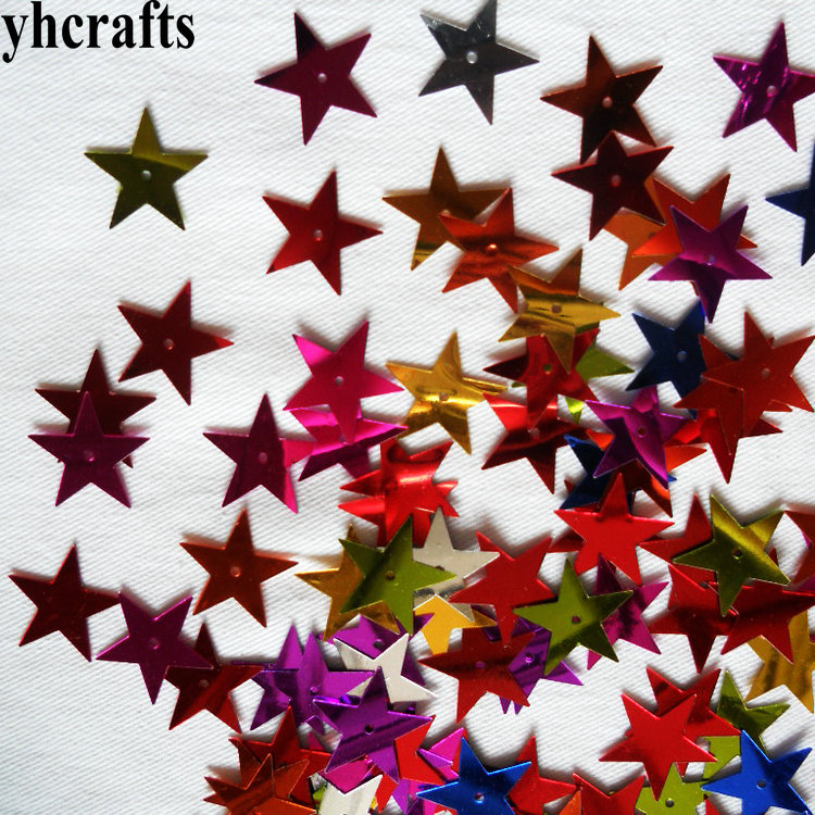 20gram/Lot. 15mm Star With Hole Sequins Craft Material Kindergarten Crafts Creative Activity Item Color Learning Make Your Own