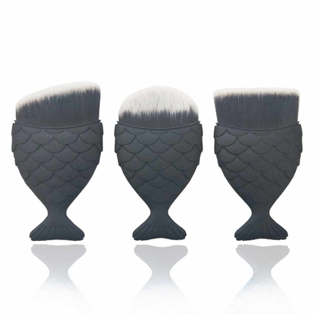 1pcs Silky Soft Fish Scale Makeup Brush Fishtail Bottom Brush Powder Cosmetic Brush Fishtail make up brush C1109 X0423 3.5 20