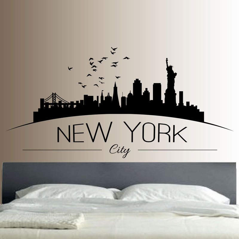 New York Skyline Wall Sticker საძინებელი Lounge Wall Art Decal Removerable Mural თანამედროვე City Picture Design E549