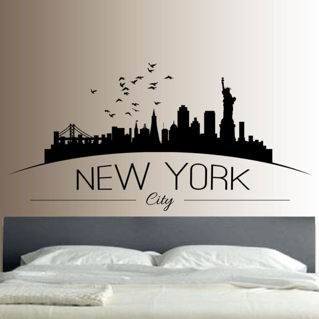 new york skyline wall sticker bedroom lounge wall art decal removable mural modern city picture