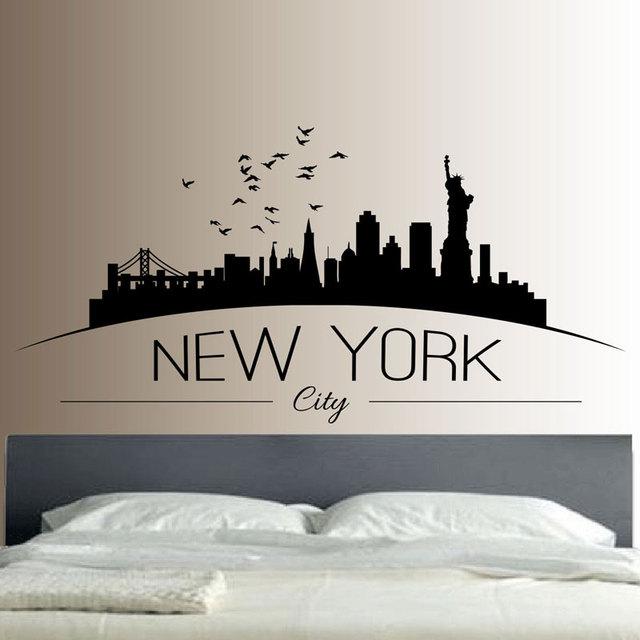New York Skyline Wall Sticker Bedroom Lounge Wall Art ...