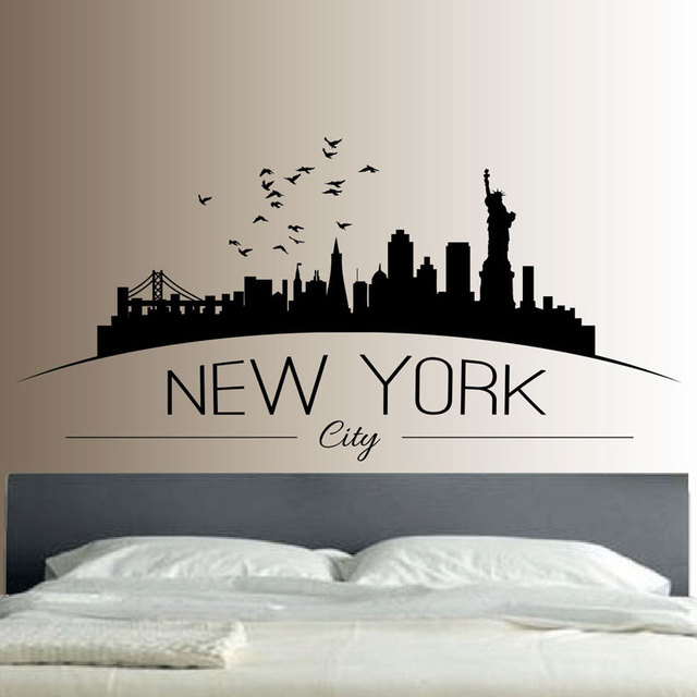 New york skyline wall sticker kamar tidur ruang wall art decal removable mural gambar kota modern