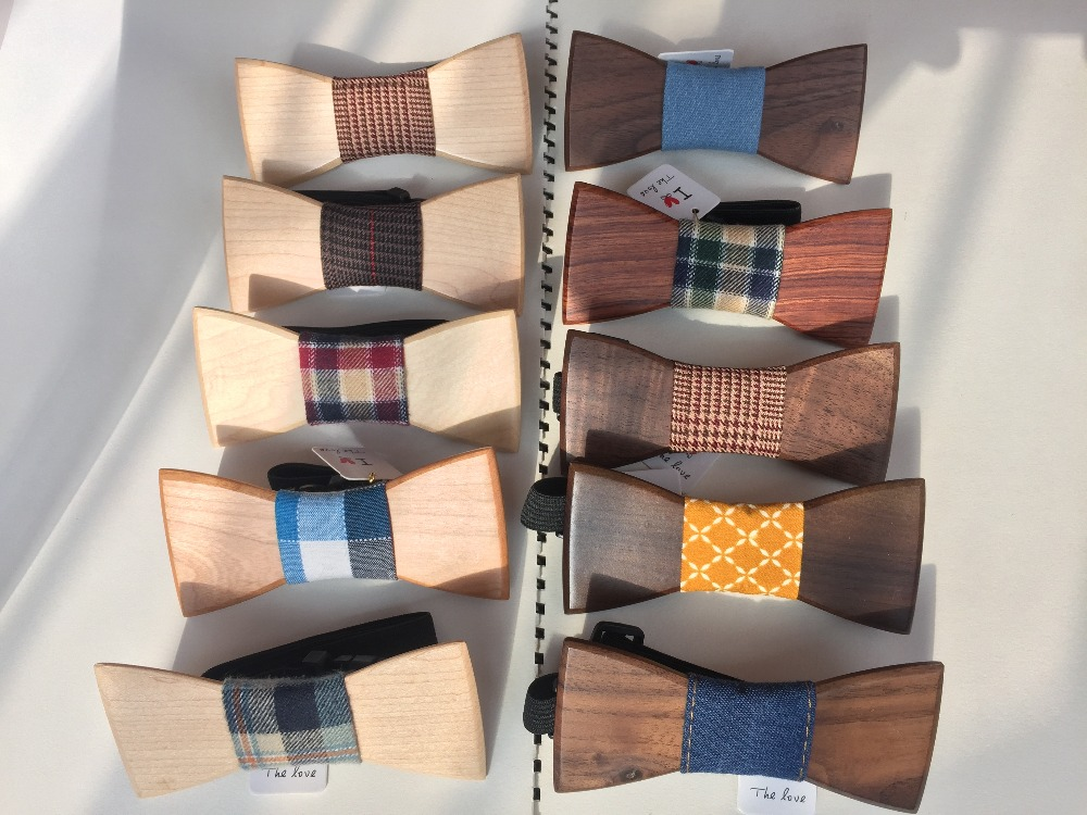 Silk neckties christmas gifts wooden bow tie wave colored ribbon