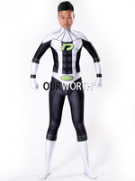 Newest Danny Phantom Superhero Costume Male Spandex Cosplay Costume Halloween Tight Zentai Suit Custom Made