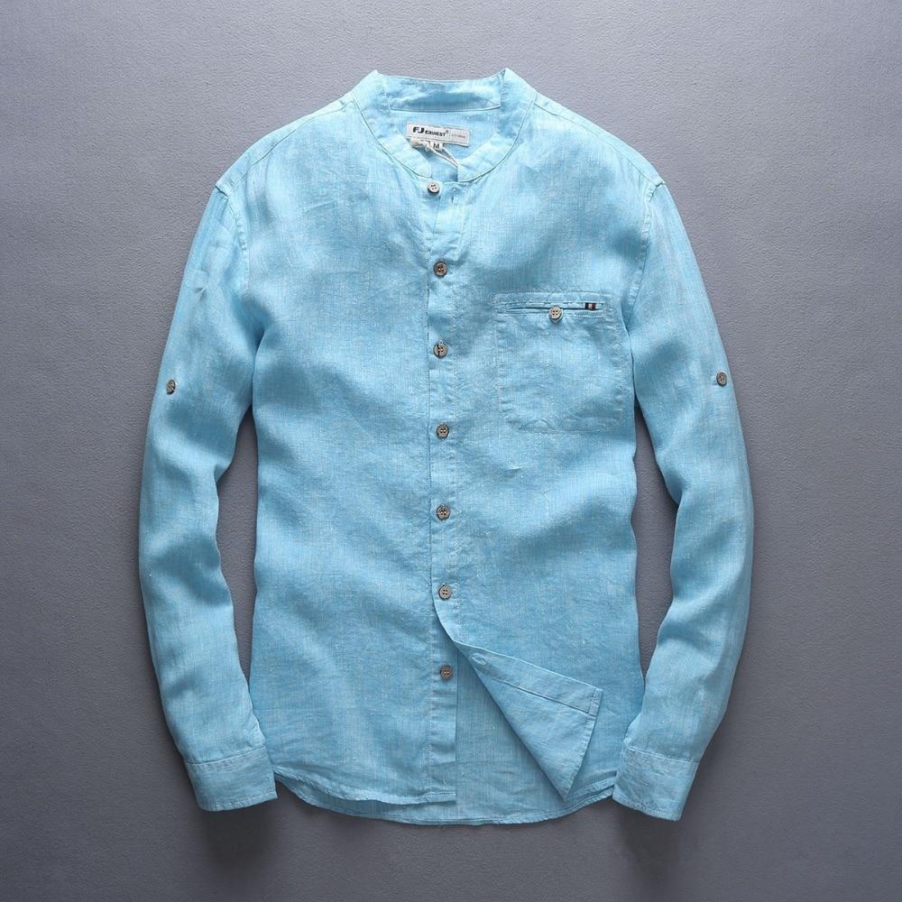 Italy Style 100% Linen Shirt Men Long Sleeve Casual Men Shirt Big Size Chest 124 Flax Brand Shirts Men Fashion Blue Mens Shirts