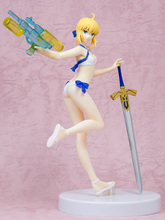 Fate/Grand Order saber figure with gun and sword japan anime figura bikini model free shipping 17 fate grand order saber attila sexy swing sword boxed 44cm pvc action figure collection model doll toy gift