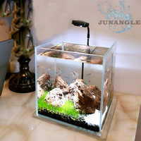 1pcs Fish Tank Base With Light Supplies Fish Bowl Stone Island Ornaments Aquarium LED Lighting Aquarium Accessories Background