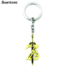 Samyueng New Zelda Key Chains for Best Friends Yellow Sword Keychains for Male Keyring Car Key Cover Holder Anime Jewelry