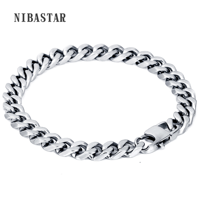 bd3e0532b19549 Hot Bracelet Men/Women Jewelry Wholesale Trendy Silver Stainless Steel 22CM  8MM Thick Cuban Link Chain Bracelets