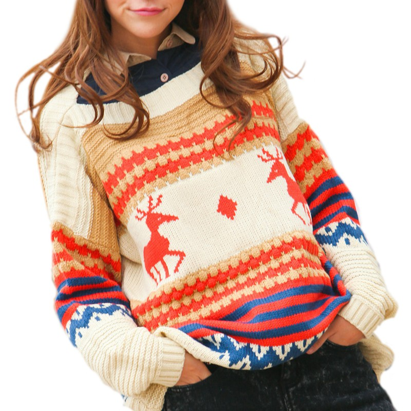 2017 New Autumn Winter Casual Loose Long Sleeve Knitted Pullover Jumper Women Christmas Deer Printed Sweater