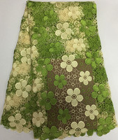 High quality nigerian wedding african lace fabric/green new guipure cord lace fabric for wedding dress!SHC1-7