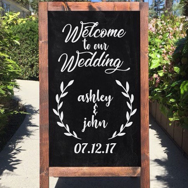 Wedding Sign Decal Welcome Chalk Board Signage Rustic Elegant Bride And Groom With Date  ...