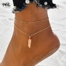 Simple design boho bohemian sexy barefoot anklet, fashion charm golden feathers leaves pendant couple anklet jewelry