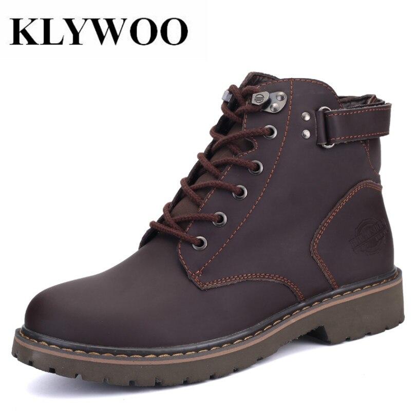 KLYWOO Brand Men Winter Boots Plush Fur Warm Leather Shoes Men Russian style Men Snow Martin Boots Leather Men Botas Hombre warmest genuine leather snow boots size 37 50 brand russian style men winter shoes 8815