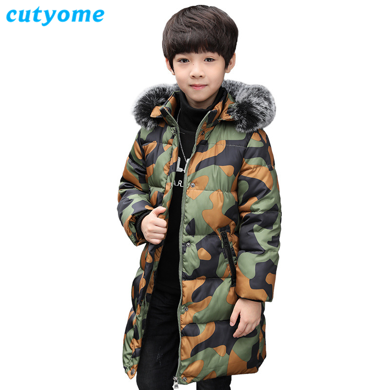Winter Warm Down Jackets for Teenage Boys 2018 New Boys Camouflage Big Fur Hooded Down Parka 9 10 12 13 Children Outerwear&Coats
