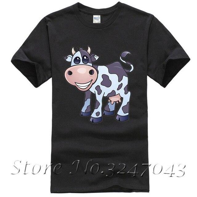 55083456fac Negro y blanco de la vaca para hombre algodón camiseta moda Camisetas slim  fit o-