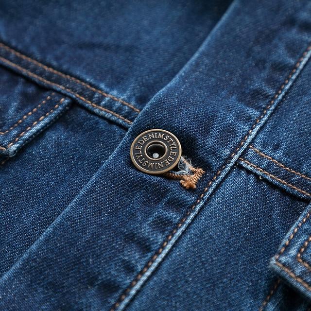 SEMIR denim Jackets men coat dark Blue Casual Teens Denim Jacket cotton Turn-down Collar Long Sleeve Denim Bomber jackets 4