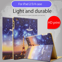 Case For IPad 234 Illustrators Series Folio Case Stand With Auto Wake Up Sleep Function Smart
